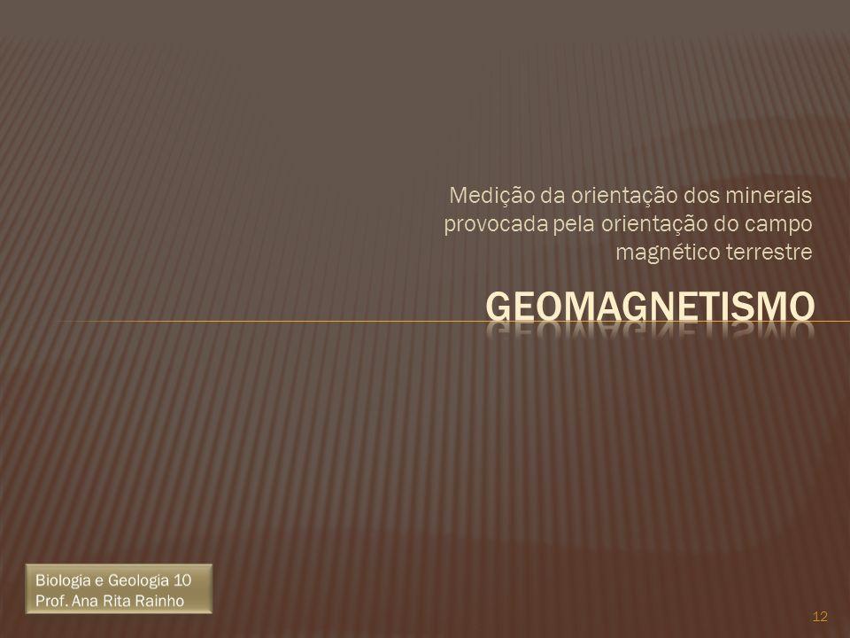 Medição da orientação dos minerais provocada pela orientação do campo magnético terrestre