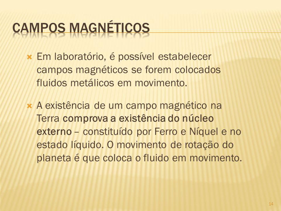 Campos magnéticos Em laboratório, é possível estabelecer campos magnéticos se forem colocados fluidos metálicos em movimento.