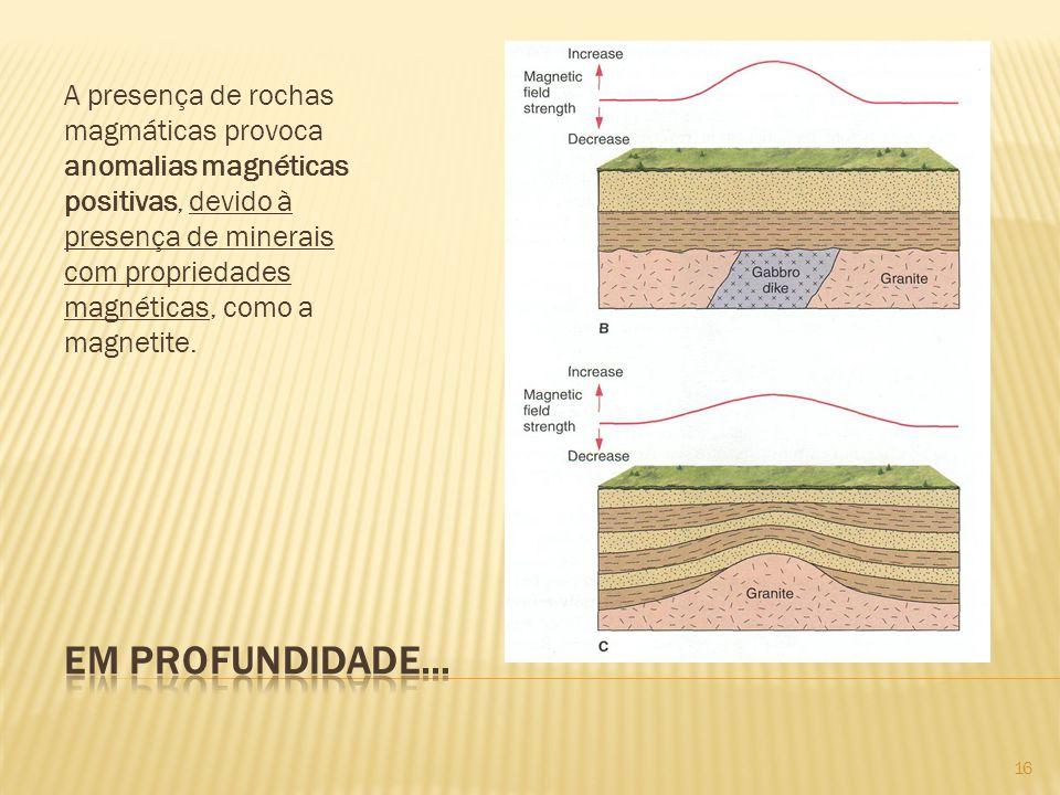 A presença de rochas magmáticas provoca anomalias magnéticas positivas, devido à presença de minerais com propriedades magnéticas, como a magnetite.