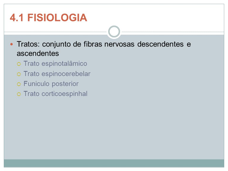 4.1 FISIOLOGIA Tratos: conjunto de fibras nervosas descendentes e ascendentes. Trato espinotalâmico.