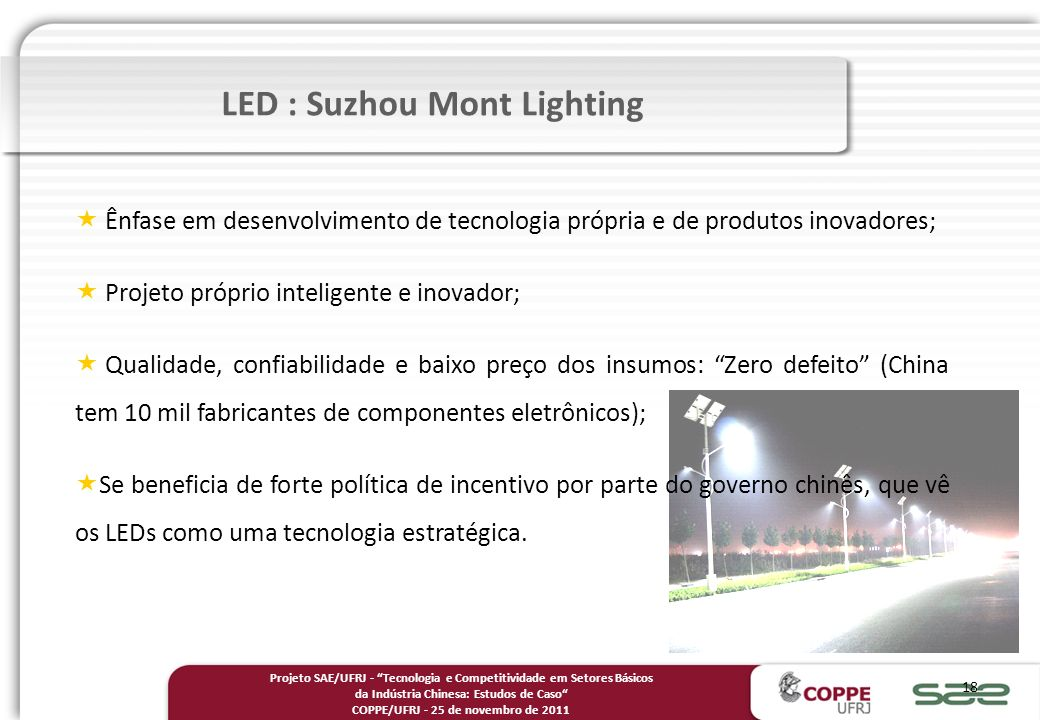 LED : Suzhou Mont Lighting COPPE/UFRJ - 25 de novembro de 2011