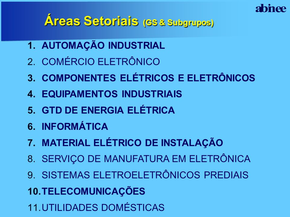 Áreas Setoriais (GS & Subgrupos)