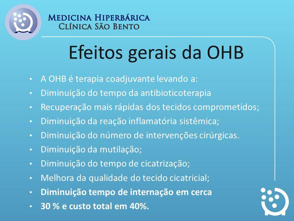 Efeitos gerais da OHB A OHB é terapia coadjuvante levando a: