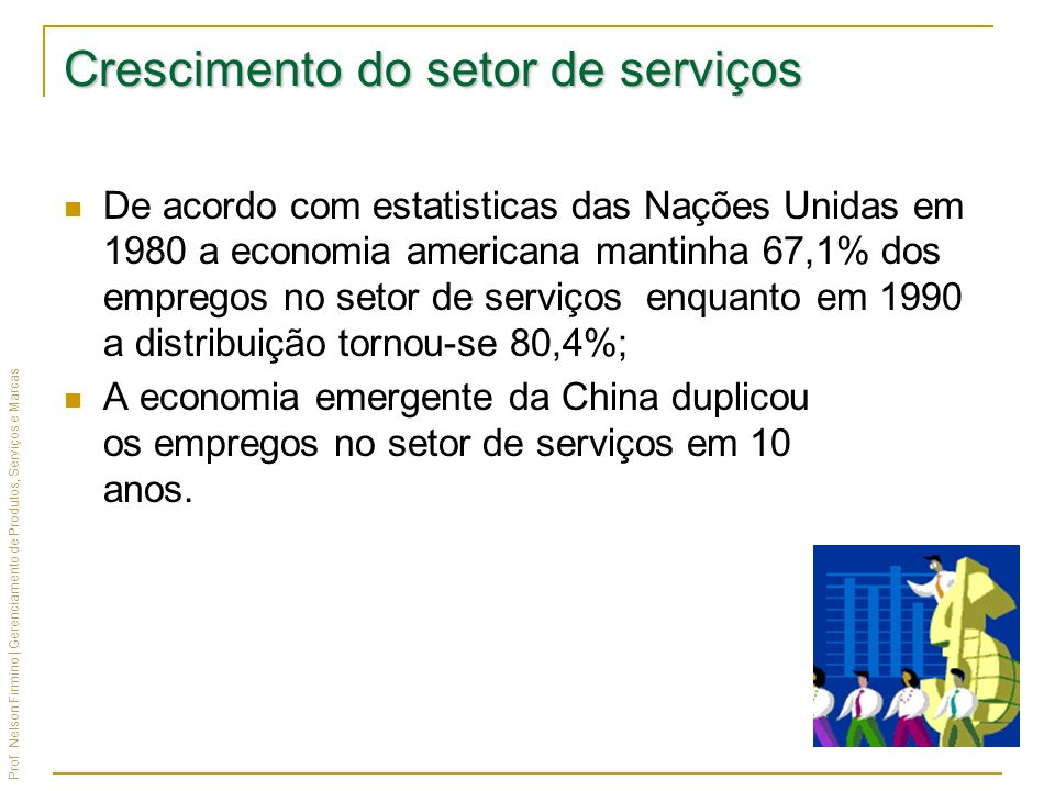 Crescimento do setor de serviços