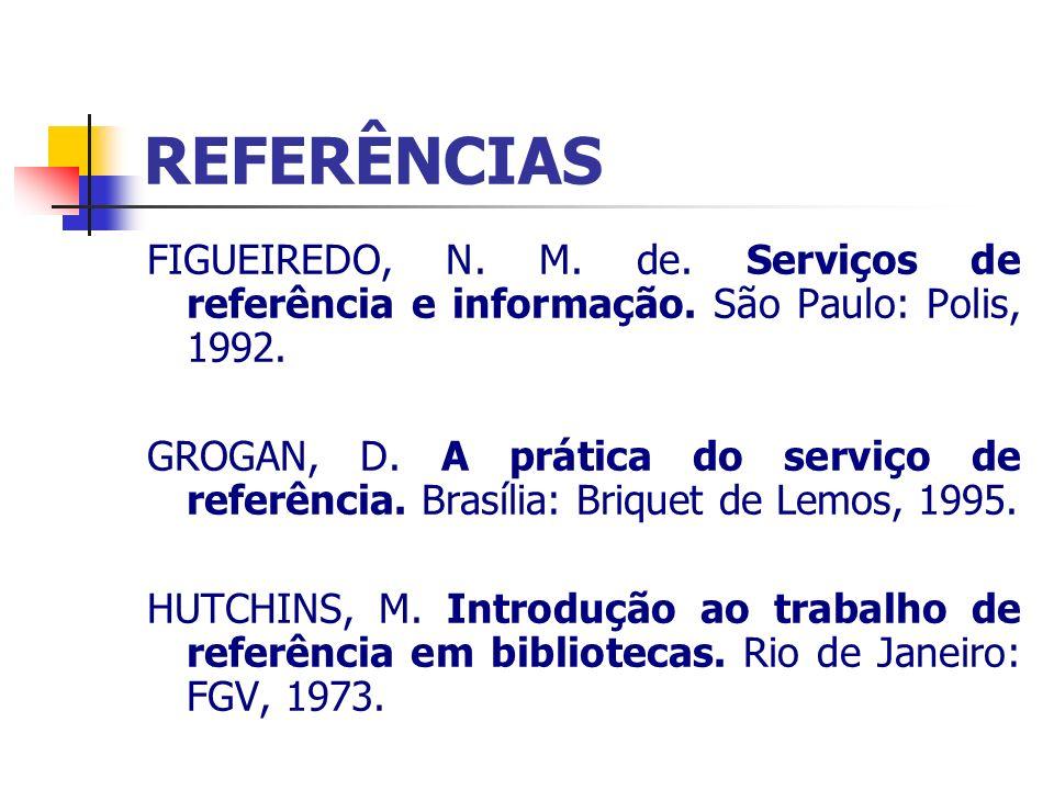 REFERÊNCIAS FIGUEIREDO, N. M. de. Serviços de referência e informação. São Paulo: Polis, 1992.