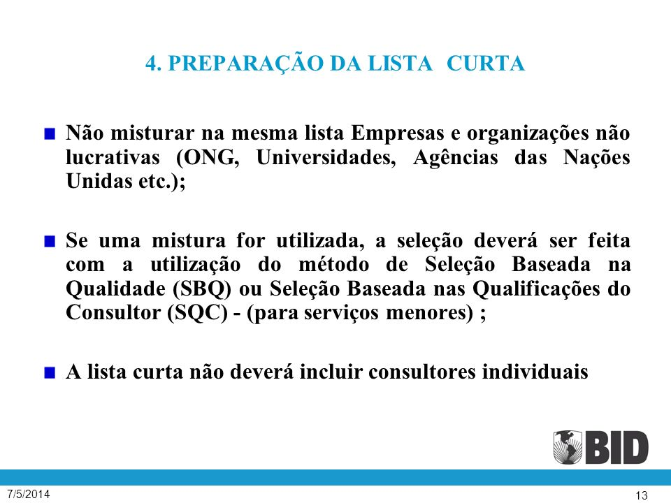 4. PREPARAÇÃO DA LISTA CURTA