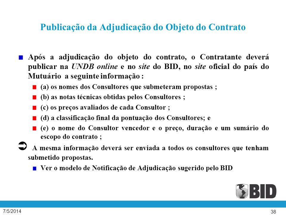 Publicação da Adjudicação do Objeto do Contrato