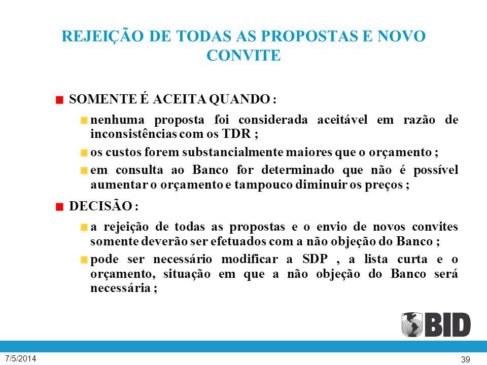 REJEIÇÃO DE TODAS AS PROPOSTAS E NOVO CONVITE