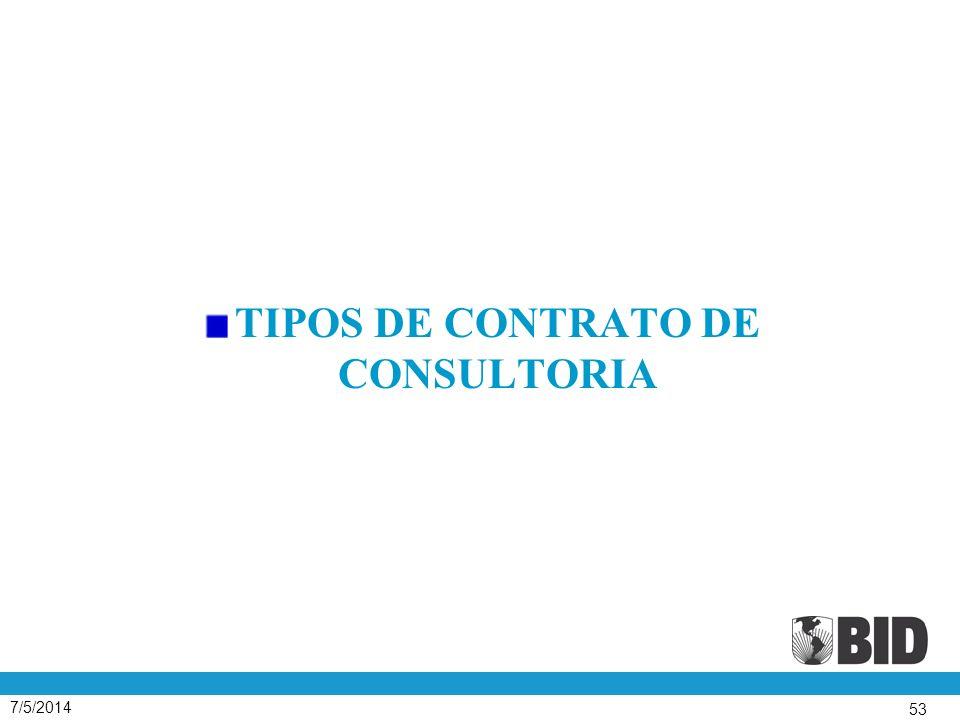 TIPOS DE CONTRATO DE CONSULTORIA