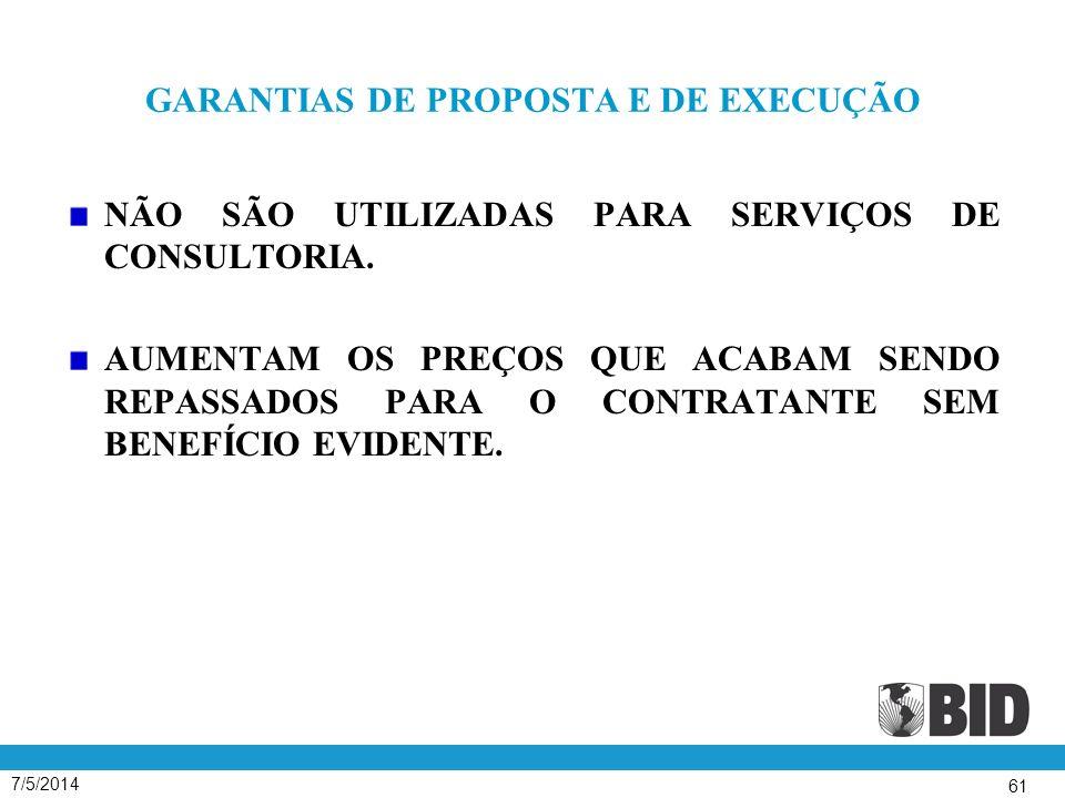 GARANTIAS DE PROPOSTA E DE EXECUÇÃO