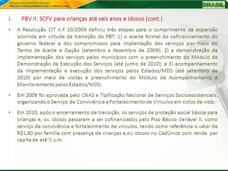 PBV II: SCFV para crianças até seis anos e idosos (cont.)
