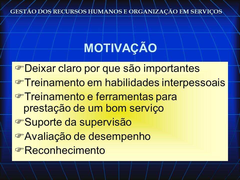 GESTÃO DOS RECURSOS HUMANOS E ORGANIZAÇÃO EM SERVIÇOS