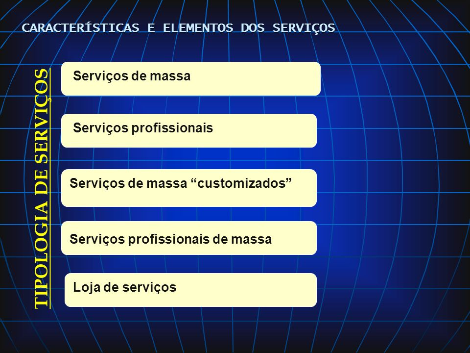 TIPOLOGIA DE SERVIÇOS CARACTERÍSTICAS E ELEMENTOS DOS SERVIÇOS