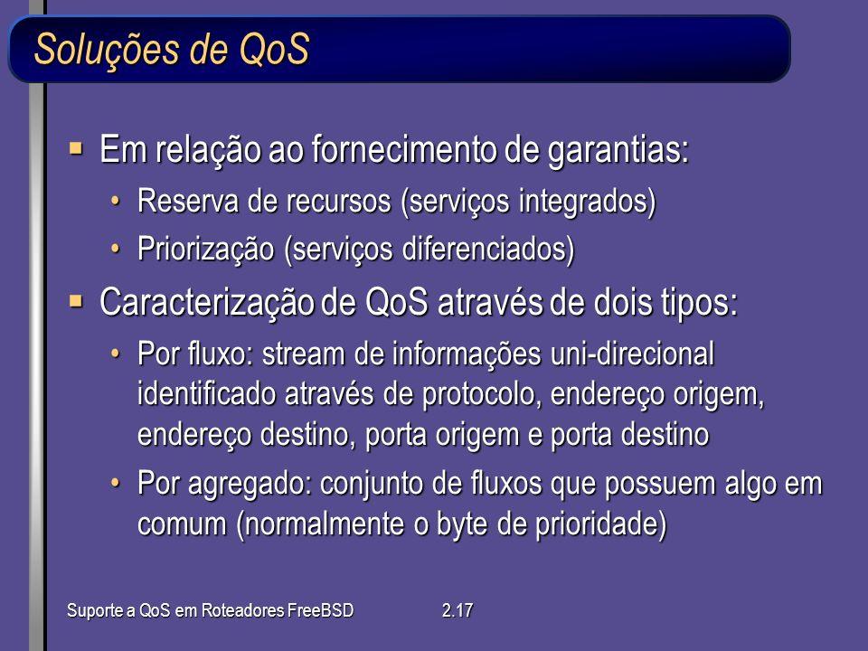 Soluções de QoS Em relação ao fornecimento de garantias:
