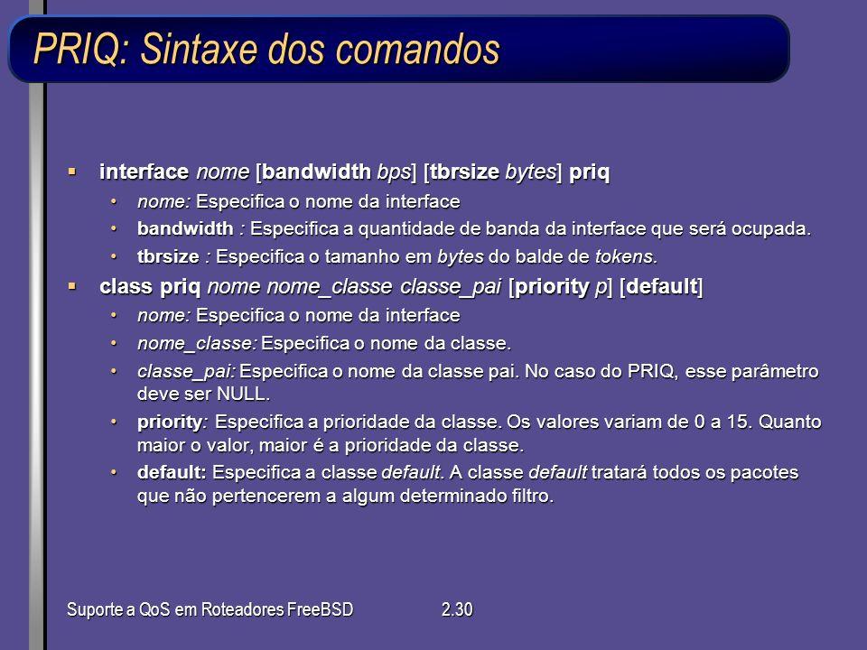 PRIQ: Sintaxe dos comandos