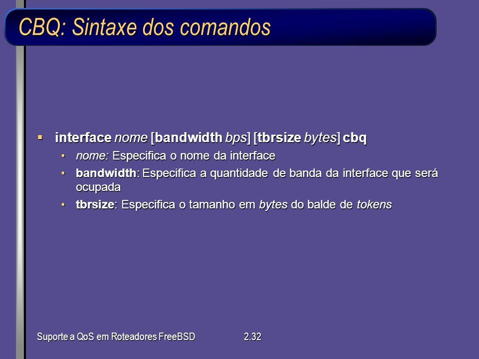 CBQ: Sintaxe dos comandos