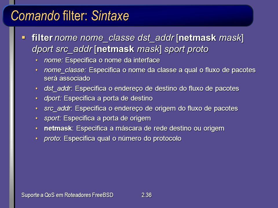 Comando filter: Sintaxe