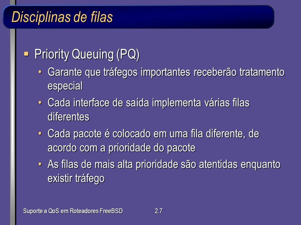 Disciplinas de filas Priority Queuing (PQ)