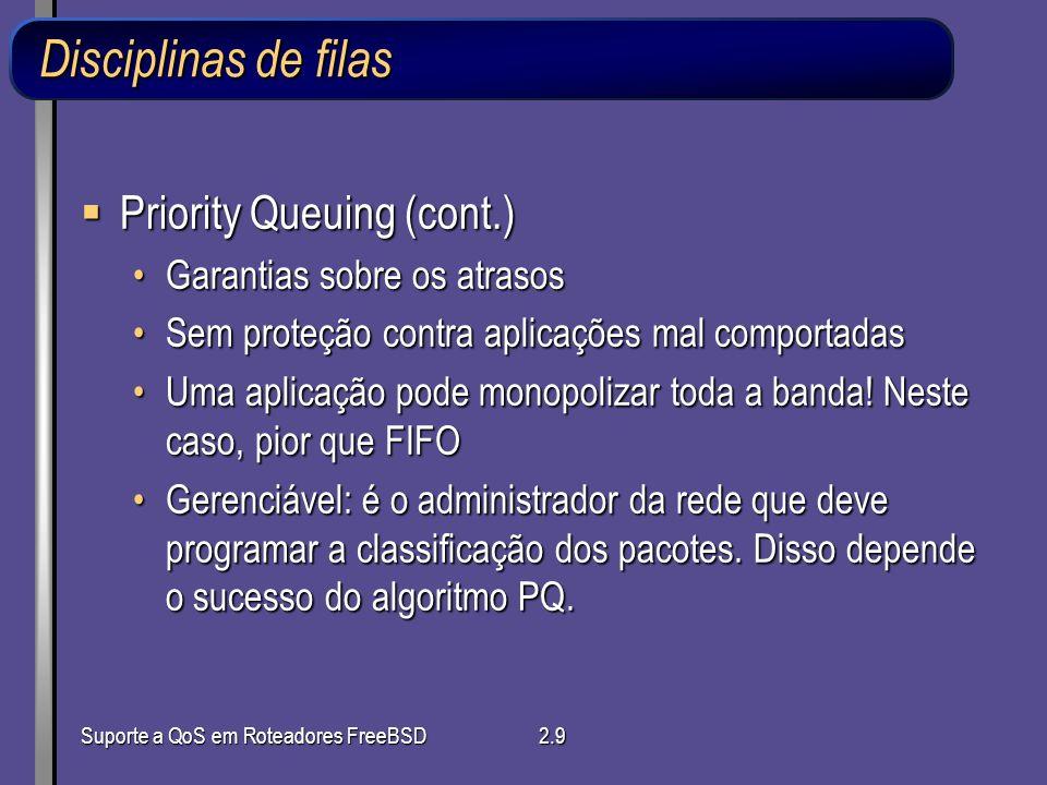 Disciplinas de filas Priority Queuing (cont.)