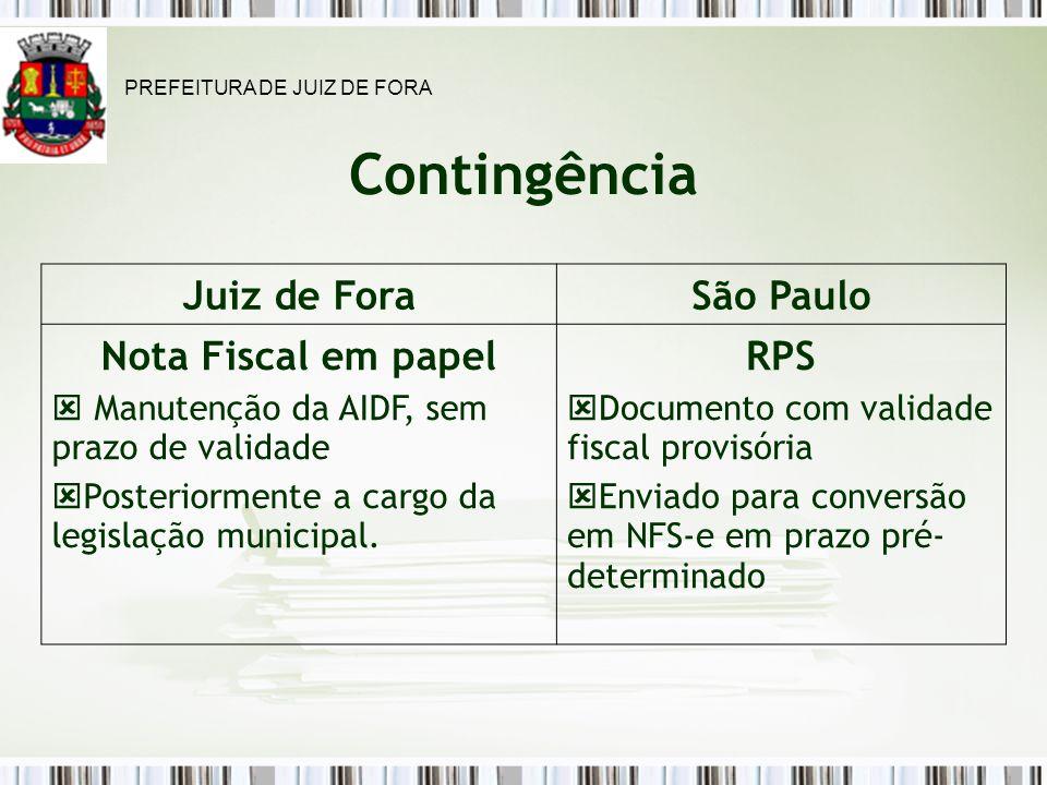 Contingência Juiz de Fora São Paulo Nota Fiscal em papel RPS
