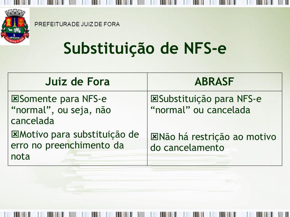 Substituição de NFS-e Juiz de Fora ABRASF