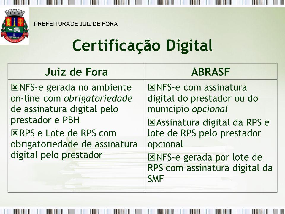 Certificação Digital Juiz de Fora ABRASF