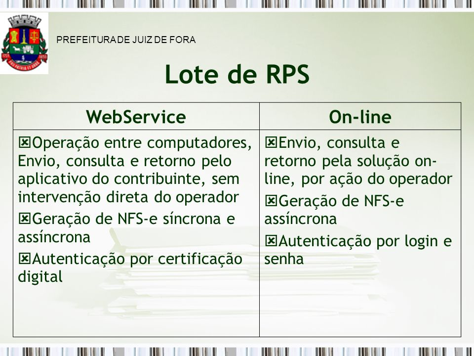 Lote de RPS WebService On-line
