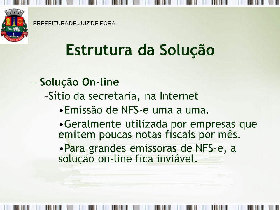 Estrutura da Solução Solução On-line Sítio da secretaria, na Internet