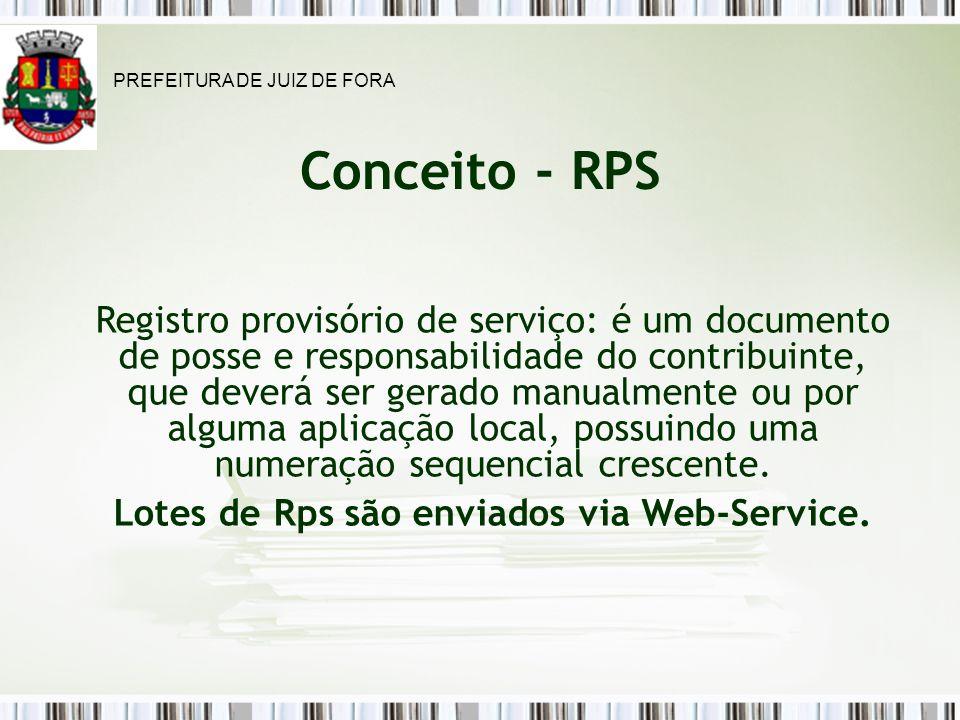 Lotes de Rps são enviados via Web-Service.