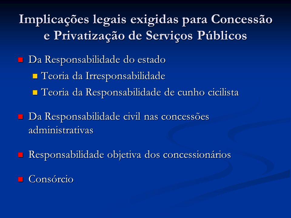 Implicações legais exigidas para Concessão e Privatização de Serviços Públicos