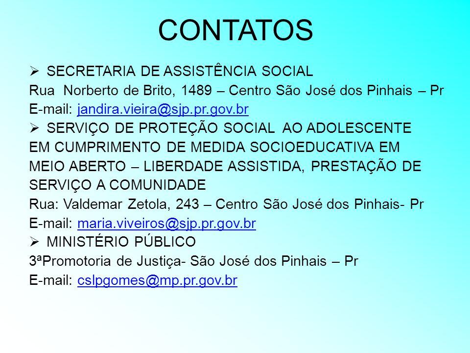 CONTATOS SECRETARIA DE ASSISTÊNCIA SOCIAL