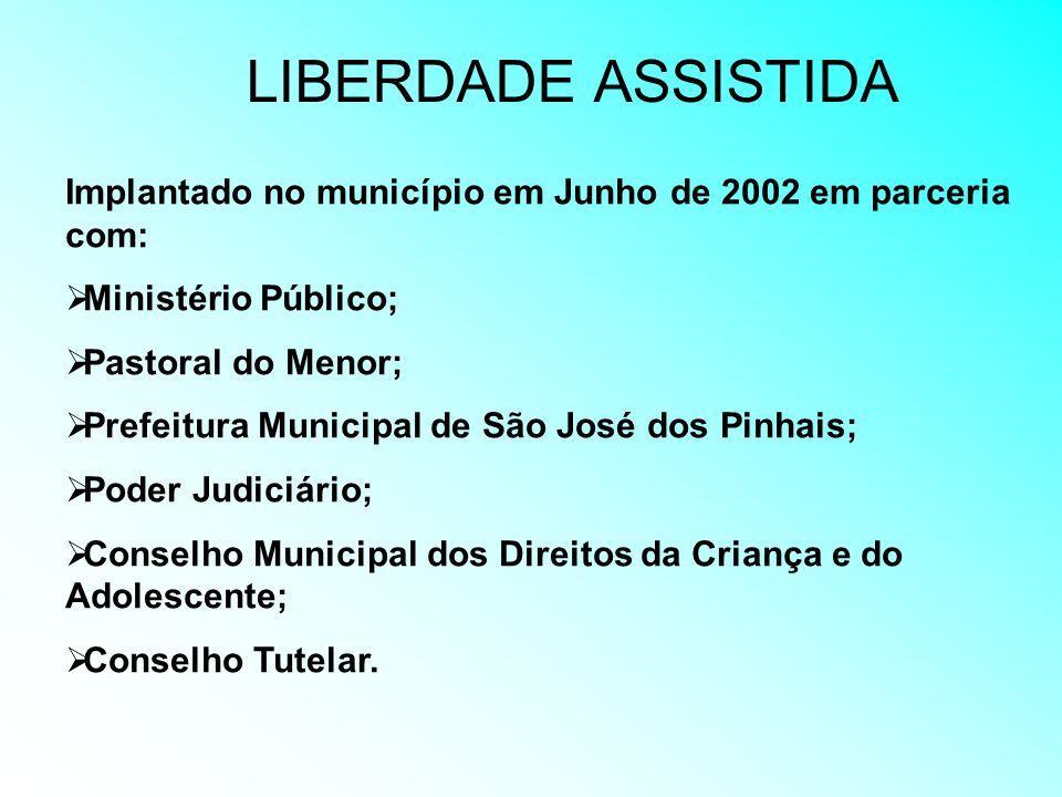 LIBERDADE ASSISTIDA Implantado no município em Junho de 2002 em parceria com: Ministério Público; Pastoral do Menor;