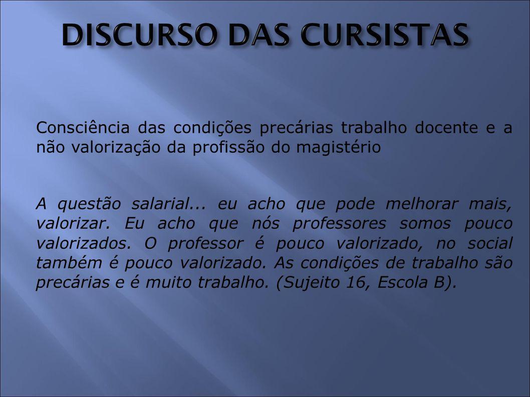 Consciência das condições precárias trabalho docente e a não valorização da profissão do magistério