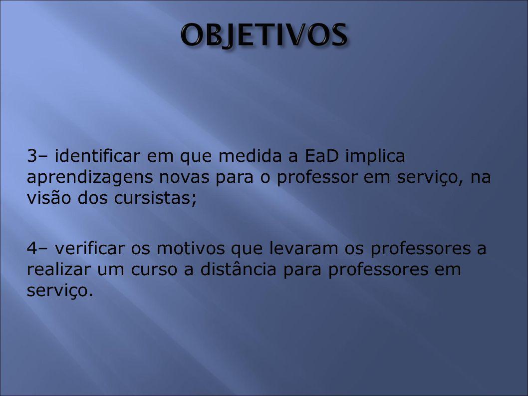 3– identificar em que medida a EaD implica aprendizagens novas para o professor em serviço, na visão dos cursistas;