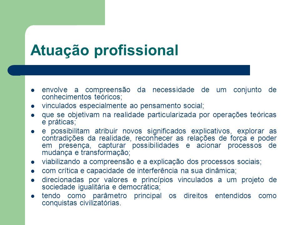Atuação profissional envolve a compreensão da necessidade de um conjunto de conhecimentos teóricos;