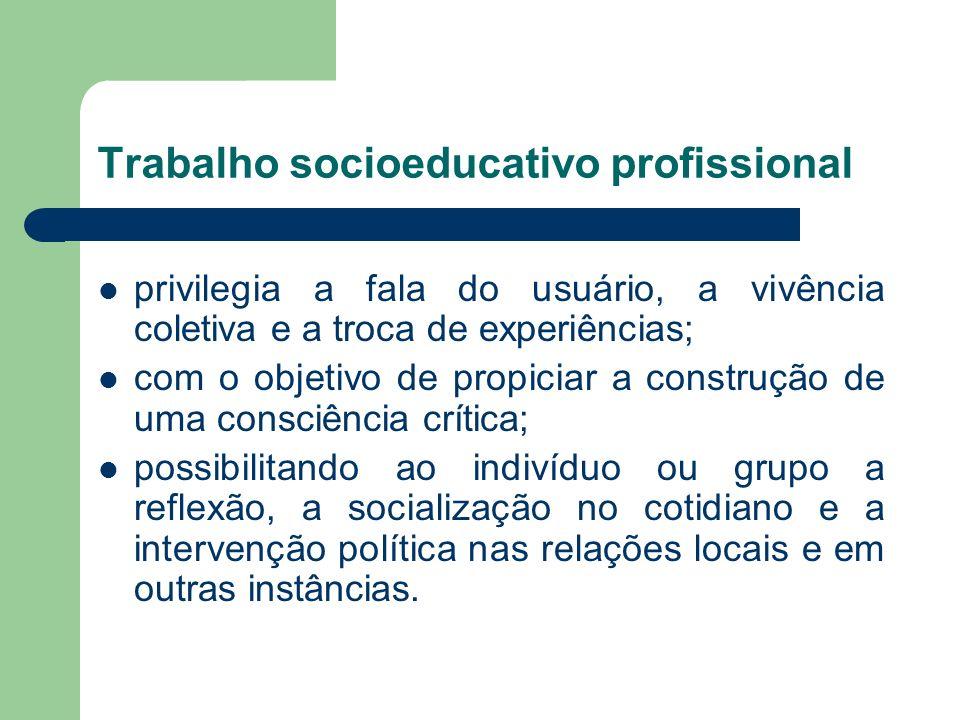 Trabalho socioeducativo profissional