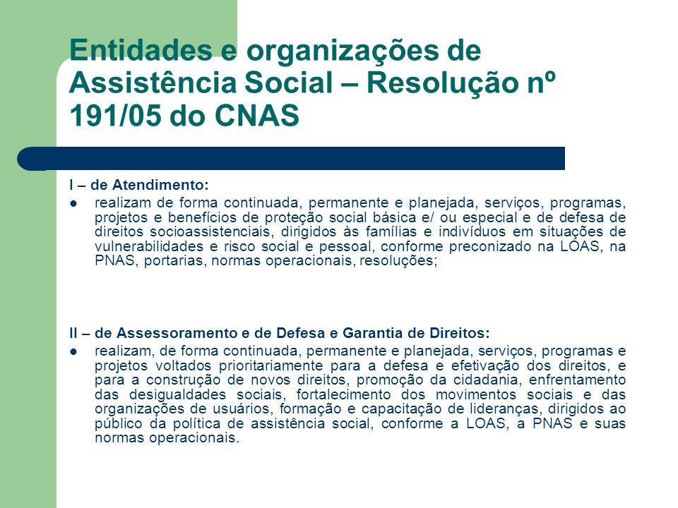 Entidades e organizações de Assistência Social – Resolução nº 191/05 do CNAS