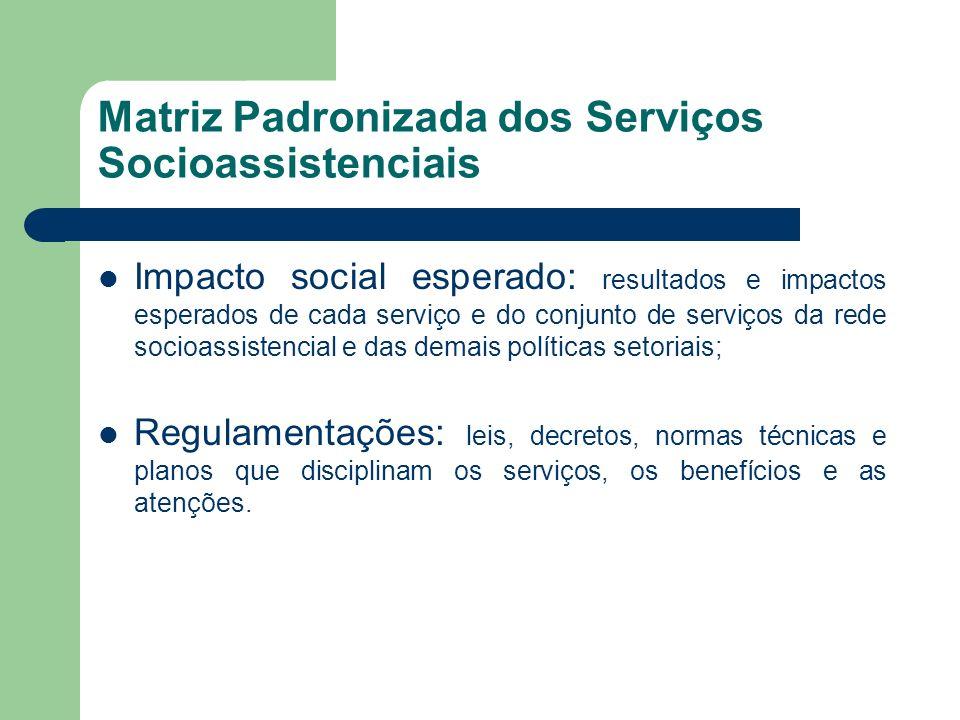 Matriz Padronizada dos Serviços Socioassistenciais