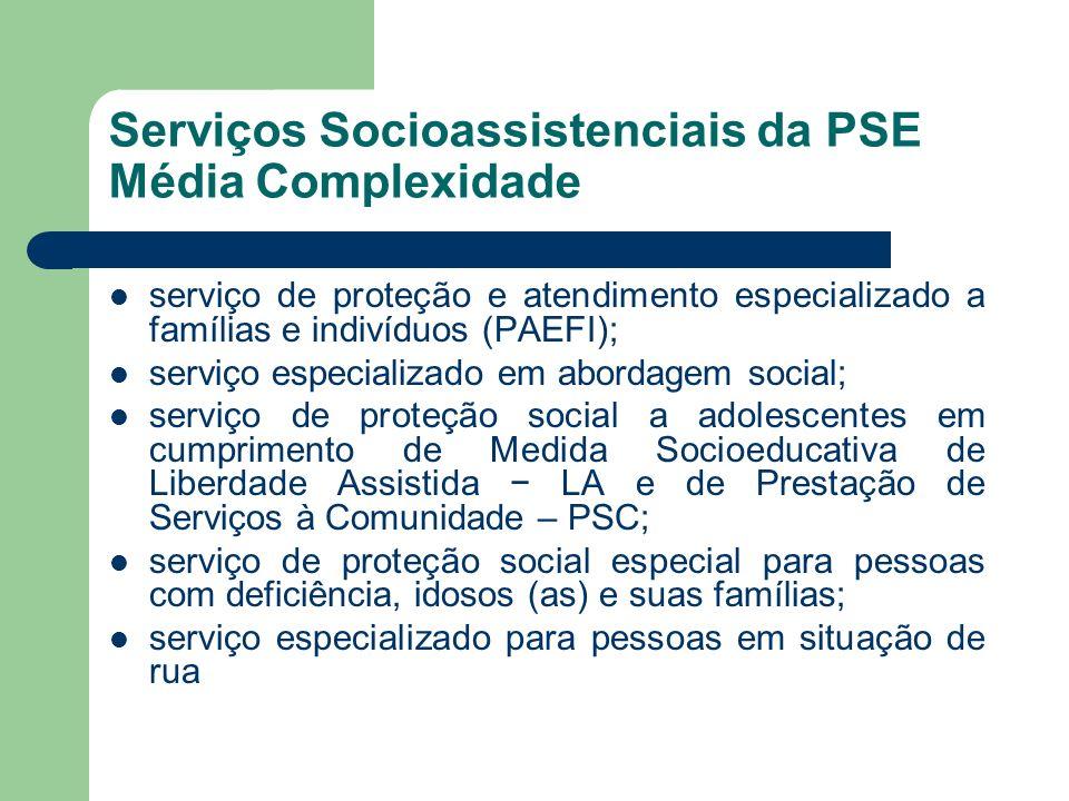 Serviços Socioassistenciais da PSE Média Complexidade