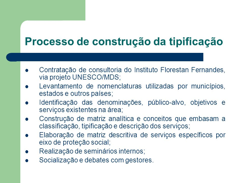 Processo de construção da tipificação