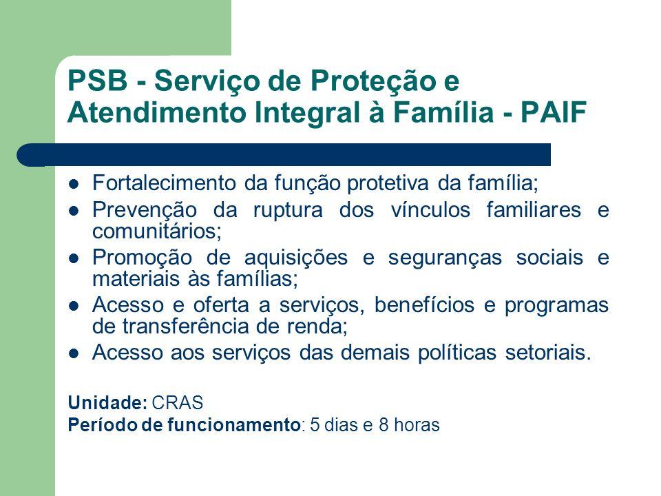 PSB - Serviço de Proteção e Atendimento Integral à Família - PAIF