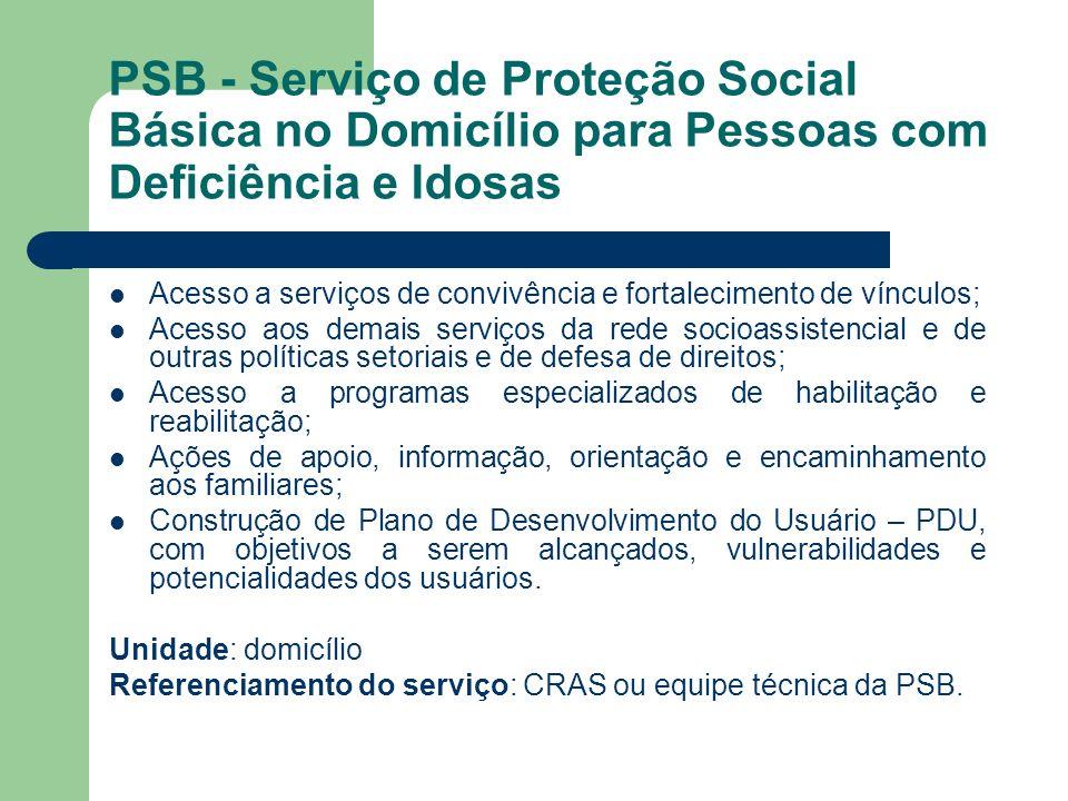 PSB - Serviço de Proteção Social Básica no Domicílio para Pessoas com Deficiência e Idosas