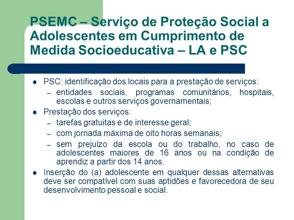 PSEMC – Serviço de Proteção Social a Adolescentes em Cumprimento de Medida Socioeducativa – LA e PSC