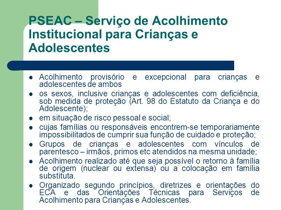 PSEAC – Serviço de Acolhimento Institucional para Crianças e Adolescentes
