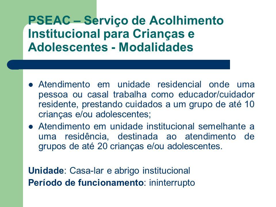 PSEAC – Serviço de Acolhimento Institucional para Crianças e Adolescentes - Modalidades