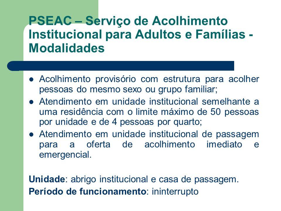 PSEAC – Serviço de Acolhimento Institucional para Adultos e Famílias - Modalidades