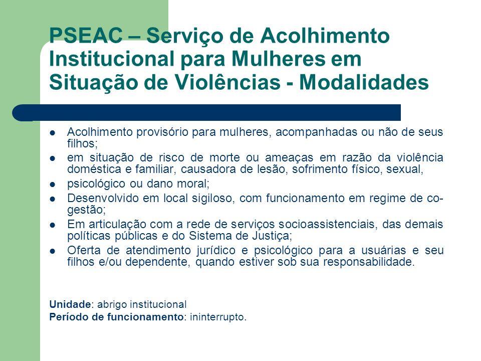 PSEAC – Serviço de Acolhimento Institucional para Mulheres em Situação de Violências - Modalidades