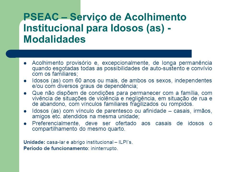 PSEAC – Serviço de Acolhimento Institucional para Idosos (as) - Modalidades
