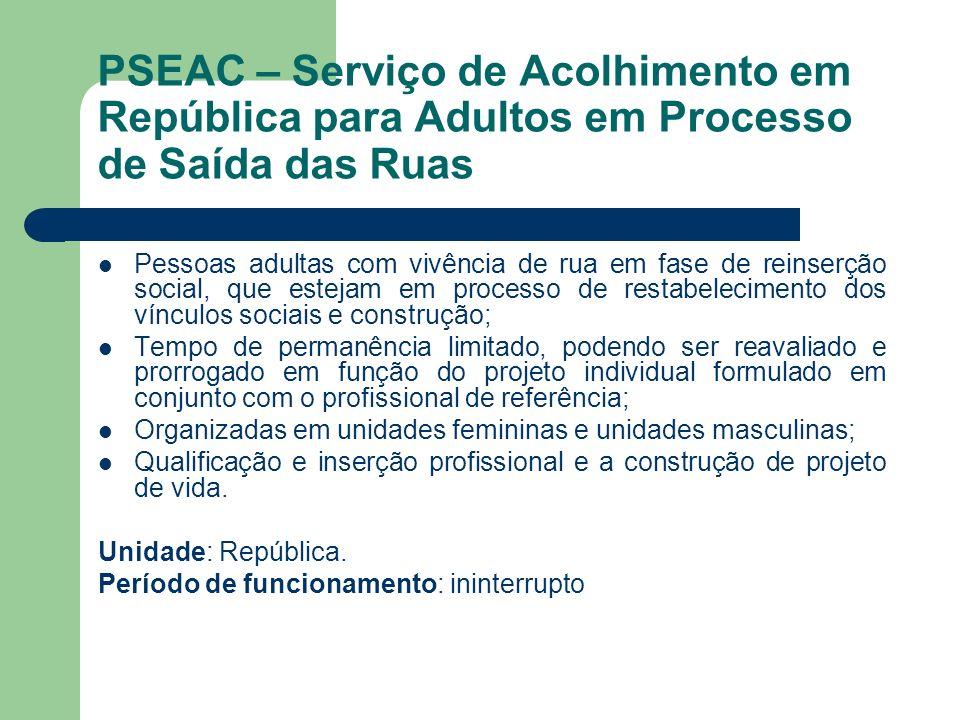 PSEAC – Serviço de Acolhimento em República para Adultos em Processo de Saída das Ruas