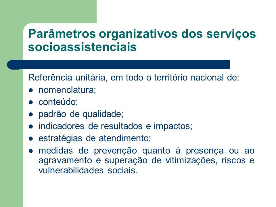 Parâmetros organizativos dos serviços socioassistenciais